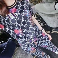 """Gucci"" Women Casual Personality GG Letter Pattern Print Short Sleeve Trousers Set Two-Piece Sportswear"
