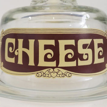 Vintage Glass Covered Cheese Dish with Dome Covering Cloche - Lettering - Mid Century - Arcoroc France - Plate / Platter / Tray  Globe Cover