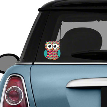 Colorful owl car decal sticker geometric pattern cute owl bumpe
