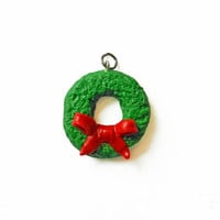 Christmas Wreath Charm - Polymer Clay Charm - Christmas Charm - Red and Green Charm - Holiday Charm - Kawaii Charm - Christmas Jewelry