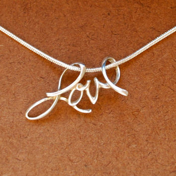 SALE Sterling silver love pendant on 18 inch by jersey608 on Etsy