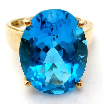 London Blue Topaz Ring 10K Gold Vintage