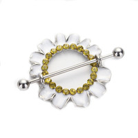 2pcs 14G Nipple Rings Barbells Piercing White Plating Chrysanthemum Nipple Mamilo Rings Bars Shield Stainless Steel Body Jewelry