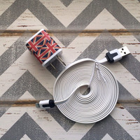 New Super Cute British Flag Designed Dual USB Wall Connector  + 10ft Flat White IPhone 5/5s/5c Cable Cord