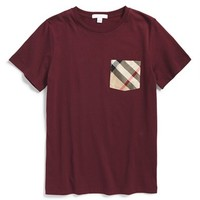 Boy's Burberry 'Callum' Check Print Chest Pocket T-Shirt,