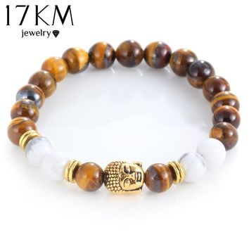 17KM Men Bracelets Gold Color Skull Bead Charm Buddha Charm Lava Bracelet Matte Yoga Natural Stones For Women Fashion Jewelry