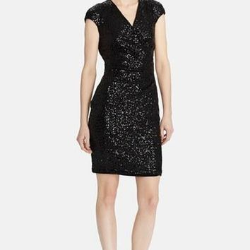 Women's Lauren Ralph Lauren Sequin Back Cutout Dress,