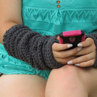 Long Arm Warmers, Charcoal Gray Fingerless Gloves, Slouchy Texting Gloves, Fall Accessories, Women's Winter Gloves