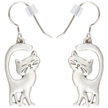 ICIK8UT Cat Walking With Tail Up Pewter Fishhook Earrings