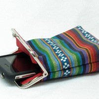 IPhone 5 Case -Tribal Fabric - Cigarette Case - 5, 4, 4S, 3GS, Large Cell Phone - Metal Silver Frame