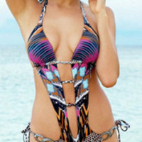 Multicolor Print Low-Cut Spandex Monokini Swimsuit in Rose