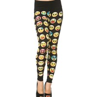 Emoji Printed Leggings in Black