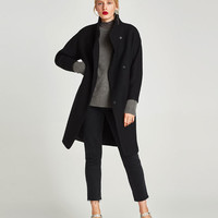 LONG COAT WITH WRAPAROUND COLLAR DETAILS