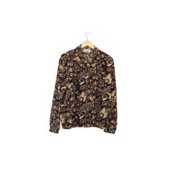 90s floral bomber jacket / vintage 1990s / versace style / baroque pattern / black and gold / silky / allover print / grunge / large