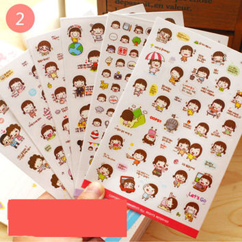 H7 New Cute Lovely 6 Sheet Paper kawaii Stickers for Diary Scrapbook Book Wall Decor for decoration*Cartoon scene stickers