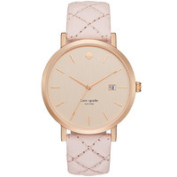 kate spade new york Metro Grand Quilted Pink Leather Strap Watch | Dillards