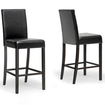 Baxton Studio Shaunna Modern Counter Stool Set Of 2 (Dark Brown)