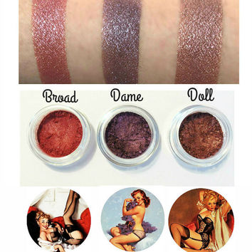Red Burgundy Pin Up Girl Eyeshadow Collection 3pc Set Mineral Makeup Eye Shadow