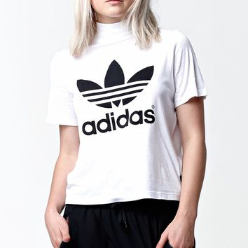 adidas Berlin High Neck Short Sleeve T-Shirt - Womens Tee - White