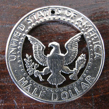 Half Dollar Hand Cut Coin