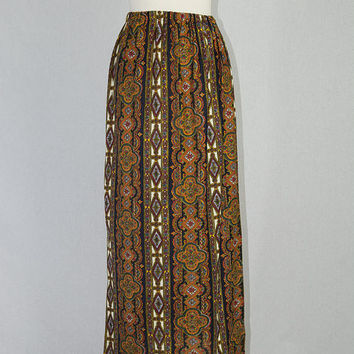 Vintage 70s Boho Gypsy Maxi Skirt High Waist Straight Medallion Floral Print