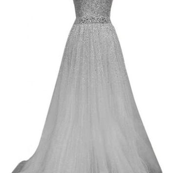 Gray Strapless Sequined Maxi Dress
