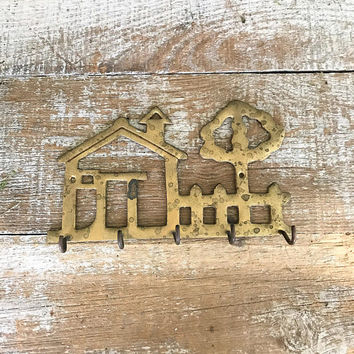 Key Hook Brass Wall Hook Brass Farmhouse Key Rack Kitchen Hook Brass Key Hook Utensil Hooks Tea Towel Hook Farmhouse Chic Pot Holder Hook