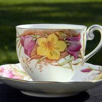 Vintage Bell Floral Tea Cup and Saucer, Fine Bone China Teacup Made in England  J-1549