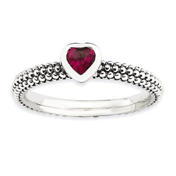 Sterling Silver Stackable Expressions Ruby  Heart Ring