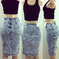 High Waist 80's Acid Wash Stretch Denim Pencil Skirt Sizes S-M-L and Plus Sizes