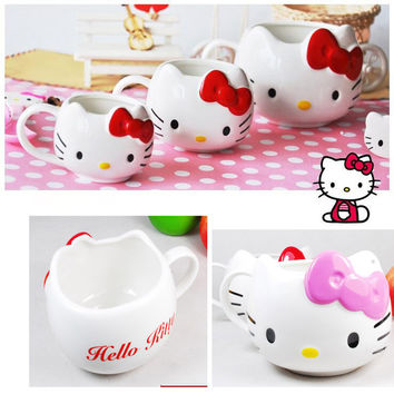 Hot Hello Kitty Ceramic Cup Tea Milk Coffee Mug White Pink Bowknot  lovely Girl gift