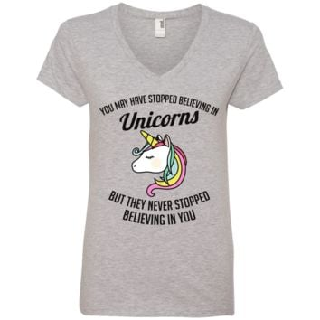 You May Have Stopped Believing In Unicorns Ladies' V-Neck T-Shirt