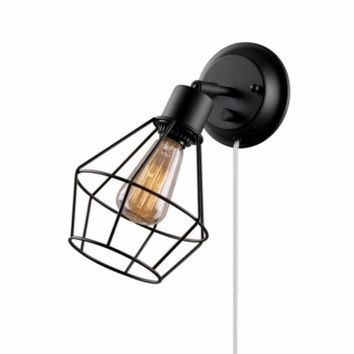 Globe® Electric 65448 Plug In Wall Sconce w/ Pivoting Wire Shade, Matte Black