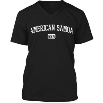 American Samoa 684 Country Area Code Samoan Pride T-Shirt Mens Printed V-Neck T