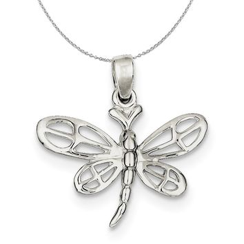 Sterling Silver 24mm Polished Dragonfly Necklace