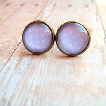 L I L A C - Soft Light Lavender Lilac Purple and White Heart Polka Dot Photo Glass Cab Circle Antique Bronze Post Earrings