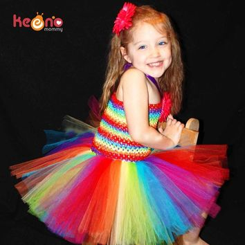 Keenomommy Girls Rainbow Tutu Dress and Daisy Hair Clip Set Handmade Birthday Party Dress Halloween Christmas Costume TS126