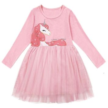 Little Girls Unicorn Party Frock Dress Toddler Kids Baby Girls Long Sleeve Dresses Casual Wear Winter Clothes Children Clothing