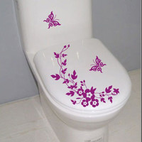 Butterfly Flower bathroom wall stickers home deocr home decoration wall decals for toilet decal sticker decor family wallpaper