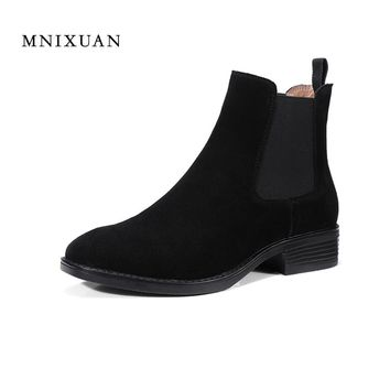 Handmade high quality women shoes ankle boots 2017 autumn winter new arrival leather short solid medium heel boots chelsea black