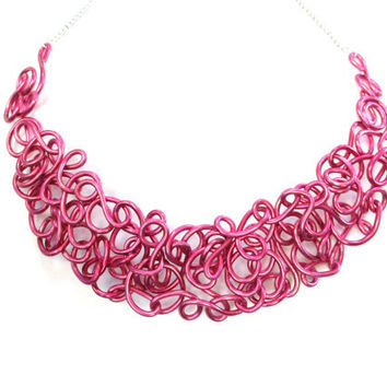 Fuchsia Bib Necklace Pink Wire Unique Modern Lacy Statement Jewelry