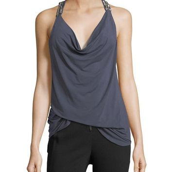 Haute Hippie Lost Love Cowl-Neck Beaded Tank Top