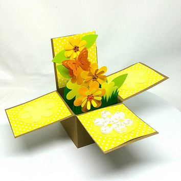 Handmade Greeting card, Card in a box, Pop up greeting card, 3D pop up card, Spring, Flower, Mother's day, Birthday Card