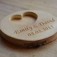 Personalized Wood Ring Holder, Rustic Wedding Ring Bearer Pillow, Birch Tree Ring Box, Personalized Birch Slice