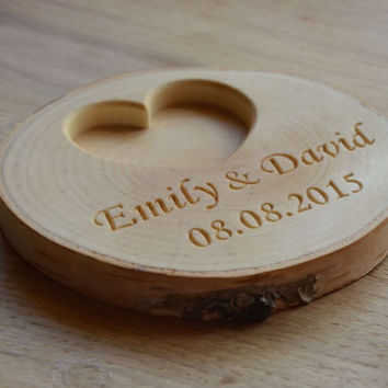 ee7885c1d6 Personalized Wood Ring Holder, Rustic Wedding Ring Bearer Pillow, Birch Tree  Ring Box,