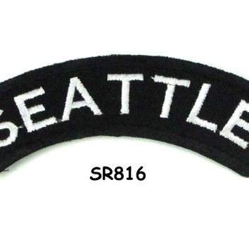Seattle White on Black Small Rocker Iron on Patches for Biker Vest and Jacket