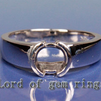 Engagement Semi mount Ring 14K White Gold Setting Round 6mm Bezel Solitaire