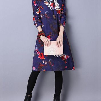 Casual Split Neck Pocket Floral Printed Cotton/Linen Shift Dress