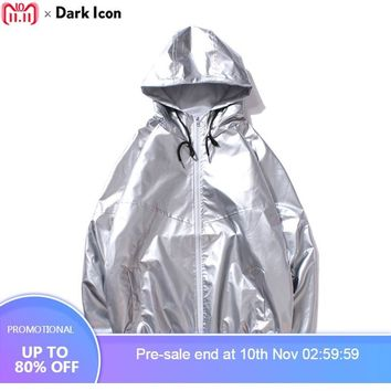 Trendy DARK ICON Shiny Metallic Waterproof Hip Hop Jacket Men Dropshoulder Mens Jacket Hooded Streetwear Jackets for Man Gold Silver AT_94_13