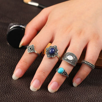 Turkish Vintage Flower Ring Sets 5 PCS Antique Alloy  Vampire Blue Stone Midi finger Rings for Women Steampunk Anillos JM0510